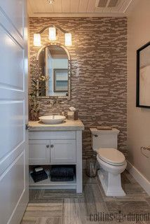 Love the spa like feel and how a small space seems larger due to tiles. Windover Model at Barefoot Beach - contemporary - powder room - other metro - by Collins & DuPont Interior Design