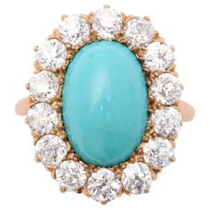 Persian Turquoise Old Mine Diamond Gold Ring | From a unique collection of vintage cluster rings at https://www.1stdibs.com/jewelry/rings/cluster-rings/