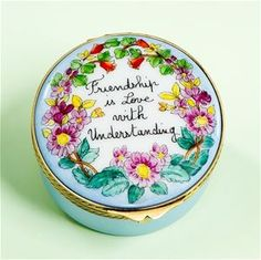 """Limoges"""" Friendship is Love ..."""" Box with Flowers."""