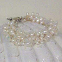 3 Strand Freshwater Pearl Elegant Bracelet by tbyrddesigns on Etsy, $29.00