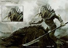 Warg Riders - The Hobbit, part I - A selection of concept design from the first installment of The Hobbit: An Unexpected Journey, Chronicles: Art and Design - The Art of Nick Keller Fantasy Races, Fantasy Armor, Dark Fantasy, Fantasy Weapons, Concept Art World, Weapon Concept Art, Character Inspiration, Character Art, Writing Inspiration