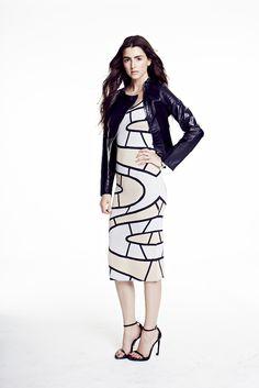 6427f3341378 Paula Hian | #SS15 | Sydney Printed Fitted Dress in Platinum/Sand/Midnight
