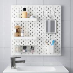 Ikea Skadis Pegboard in Bathroom Wash Basin Accessories, Bathroom Accessories, Ikea Inspiration, Ceiling Storage, Wall Storage, Bathroom Storage, Ikea Bathroom, Bathroom Sets, Nature Bathroom