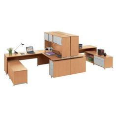 Two-Person U-Desk Workstation with Hutch // NBF Signature Series Align Collection