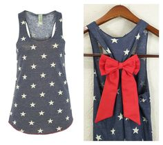 Bow Tank Top Star Tank Top 4th of July by GlamUpFitnessApparel