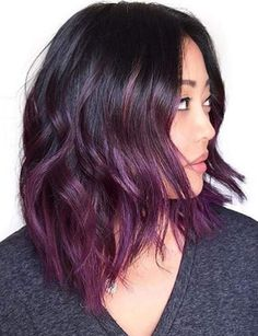 18 black roots and purple balayage hair - Styleoholic Dark Purple Hair Color, Ombre Hair Color, Dark Ombre, Violet Ombre, Short Ombre, Red Colour, Plum Purple, Purple Ombre Hair Short, Dark Plum Brown Hair