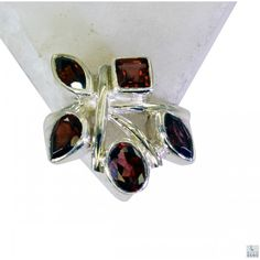 Riyo Winsome Garnet 925 Solid Sterling Silver Red Ring Srgar6-26130