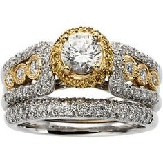 The Incredible Brilliance Of The Jewelry Hut Fancy European Designer Antique Retro. Style Diamonds, The most Precious of Gems, in Gold Engagement Ring and Diamonds Wedding Band Set on sale $2,736.00