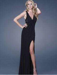 Chiffon Deep V-neck Dress with Open Back A-Line