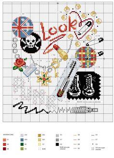 cross stitch scheme in rock / схемы вышивки крестом в стиле рок