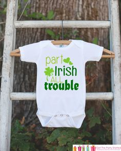 Kids St. Patricks Day Outfit - Part Irish All Trouble Onepiece - Novelty St. Patricks Shirt for Baby Boys
