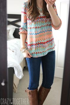 Gazele Abstract Print Silk Blouse from Amour Vert and Sophie skinny jeans from Kensie- Stitch Fix February 2015 Review #stitchfix
