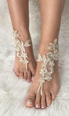 Champagne Beach wedding barefoot sandals, french lace sandals, wedding anklet, Beach wedding barefoot sandals, embroidered sandals