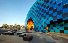 Wanangkura Stadium - Hedlend, Australia, 2012 Stephen Ashton, Howard Raggatt, Ian McDougall www.a-r-m.com.au via designboom.com  for #form #color