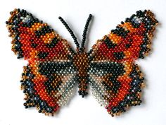 Butterfly Aglais Urticae Beading Pattern by Katherina Kostinsky at… Beading Projects, Beading Tutorials, Jewelry Patterns, Beading Patterns, Bracelet Patterns, Bead Jewellery, Beaded Jewelry, Seed Bead Crafts, Do It Yourself Jewelry