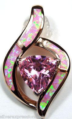 14k Rose Gold Plated 925 Sterling Silver Pink Opal Inlay and Pink Topaz Pendant | eBay