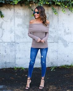 Skys The Limit Off The Shoulder Sweater - Taupe                                                                                                                                                                                 More