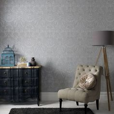 Graham & Brown offers a wide selection of Damask wallpaper and wall coverings for your home. Shop for modern design wallpaper and Damask wall coverings now. Grey Removable Wallpaper, Teal Wallpaper, Embossed Wallpaper, Wallpaper Decor, Blue Wallpapers, Denim Wallpaper, Wallpaper Samples, Geometric Wallpaper, Textured Wallpaper