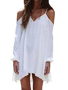 PERSUN White Cold Shoulder V Neck Asymmetric Cami Mini Dress