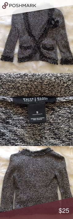 """WHBM Tweed Black Gray Silver Metallic Jacket Classic Chanel inspired knit jacket looks great with jeans and heels. Has a pin on rosette that is removable. Raw edge trim has metallic threads running throughout to give you a little holiday sparkle. Size Small. Chest: 32"""", Length: 20"""". White House Black Market Jackets & Coats Blazers"""