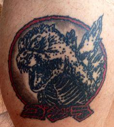 Godzilla 2000 tattoo (calf)