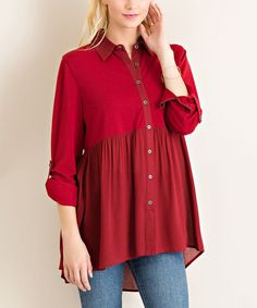 This Burgundy Pleat Hi-Low Button-Up Tunic by JDF Designs is perfect! #zulilyfinds