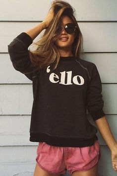 Wildfox Couture 'Ello Kim Sweater in Clean Black
