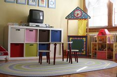 Ikea Expedit and cubes for playroom storage and TV stand