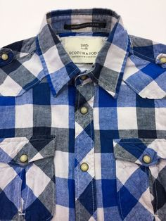 SCOTCH & SODA Pearl Snap Blue Plaid Men's Small Cotton Short Sleeve Shirt in Clothing, Shoes & Accessories | eBay