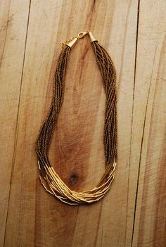 Elegant multistrand beaded necklace in golden by KisaKollections, $48.00