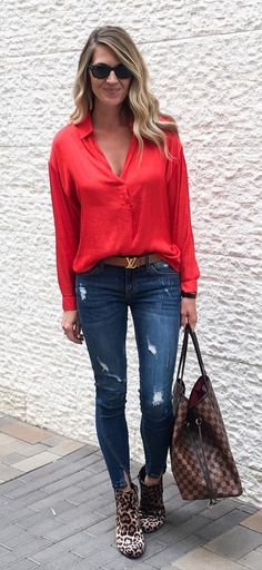 6da44d1534  fall  outfits women s red blouse and blue jeans Red Shirt Outfits