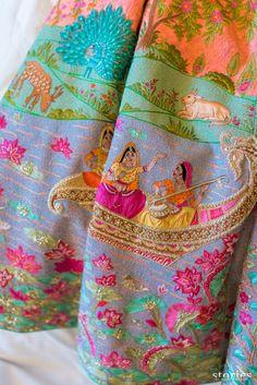 Looking for Unique embroidery on mehendi lehenga customised by bride? Browse of latest bridal photos, lehenga & jewelry designs, decor ideas, etc. on WedMeGood Gallery. Embroidery Fashion, Embroidery Dress, Hand Embroidery, Indian Embroidery Designs, Embroidery Blouses, Churidar, Salwar Kameez, Salwar Suits, Kurti