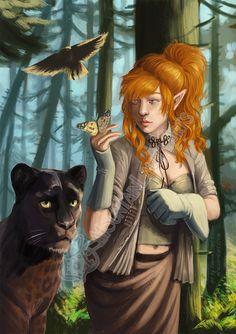 Beast Tamer Fantasy Art Print  Digital Painting  by mtnlaurelarts