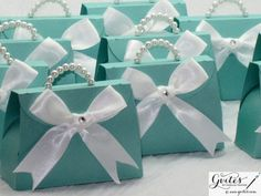 Mini Tiffany Blue Paper Purse - Breakfast at Tiffany's Party Favors - Tiffany Blue & Pink Pearls Paper Purse - SET OF 10