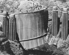 The rarely seen back of the Hoover Dam before it was filled with water, 1936