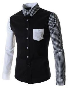Camisa Casual Fashion en Dos Colores - Manga y Cuello a Cuadros - en Blanco y Negro - comprar online
