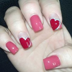 Definitely an option for girly-girls. | 26 Ridiculously Sweet Valentine's Day Nail Art Designs
