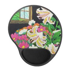 Cool Tattoo Oriental and Japanese Fine Art - Customizable Gifts and Home Decoration from Zazzle: SOLD! - Hayashi Waichi Golden Rayed Lily and Cosmos Gel Mouse Mat #lily #cosmos #mousepad #pc #accessories #oriental #hanga #art #flowers #classic #vintage #Japan #gift
