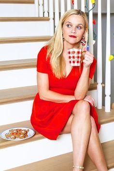 Reese Witherspoon wearing  Draper James Scarlett Solid Vneck Dress, Velvet Heart X Erickson Beamon Velvet Statement Earrings, Draper James Give Me Some Sugar Mug, Saint Laurent Jane Glitter Sandals