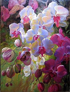 Orchid Fusion - oil and mixed media by ©Leon Roulette - via Saper Galleries