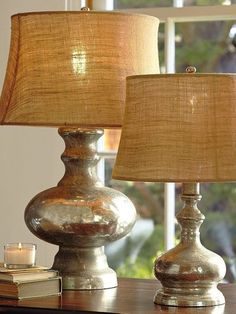 These lamps were painted with Krylon's Looking Glass spray paint. Perfect way to re-do a Goodwill lamp! I love the Pottery Barn look. - See more at: http://blog.goodwillsc.org/page/2/?s=lamps#sthash.RpFr4Js7.dpuf  Lamps | The Good Life Blog - Part 2