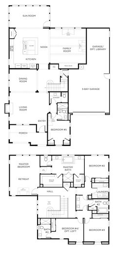 Master Bedroom Upstairs Floor Plans 5 bedroom house plan. i'd move the 5th room upstairs and change it