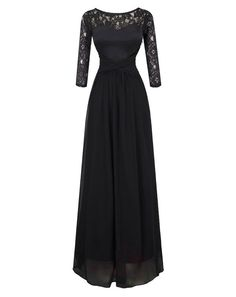 Black Long Lace 3/4 Sleeves Evening Prom Gown Party Dress Black
