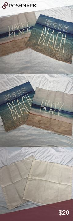 "🌊Take Me To The Beach🌊 Beach lovers pillowcases!! 2 Cases ""Take Me To The Beach"" and ""Happy Place"" 16.5"" X 17"" Accessories"