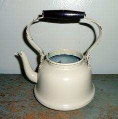 Vintage Tea Kettle Enamel Ware Cream Color Chippy by TheBackShak