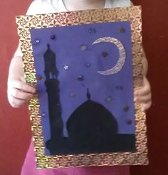Alhamdulillah, Ramadhan is here again, and to welcome the month we decided to do some art & craft all about sighting the hilaal (crescent) that marks the beginning of the month of Ramadhan. Faith Crafts, Ramadan Activities, Eid Crafts, Silhouette Frames, Ramadan Gifts, Islamic Art, Islamic Studies, Ramadan Decorations, Holiday Crafts For Kids