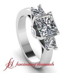 3 stone Princess cut Diamond Engagement Ring