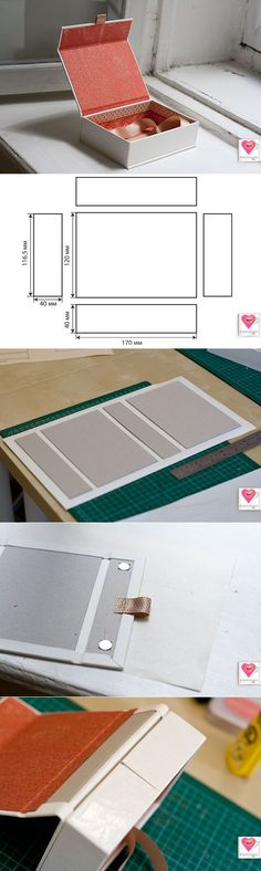 ideas diy box template packaging for 2019 Diy Paper, Paper Crafts, Handmade Paper Boxes, Papier Diy, Cardboard Crafts, Cardboard Boxes, Bookbinding, Wrapping Ideas, Diy Gifts