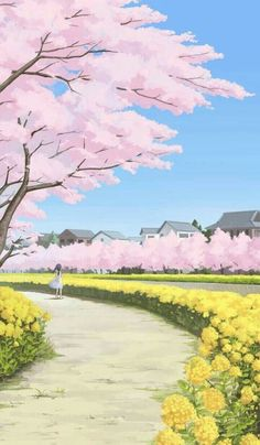 ▷ 1001 + spring wallpaper images for your phone and desktop computer beautiful landscape painting, spring wallpaper, phone wallpaper, girl walking down a pathway, large blooming trees Fantasy Landscape, Landscape Art, Spring Landscape, Phone Backgrounds, Wallpaper Backgrounds, Wallpaper Quotes, Casa Anime, Beautiful Landscape Paintings, Spring Wallpaper