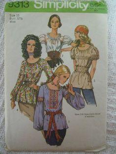 Vintage Simplicity 9313 Elastic Casing Blouse Set in Sleeve Sewing Pattern Women | eBay